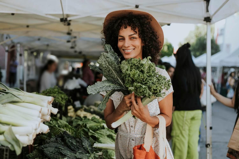 Farmers Market Kale Woman