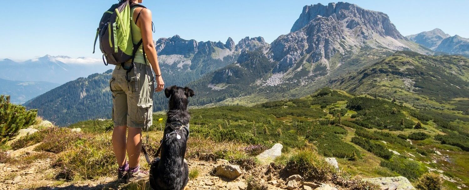 Woman hiking with a dog