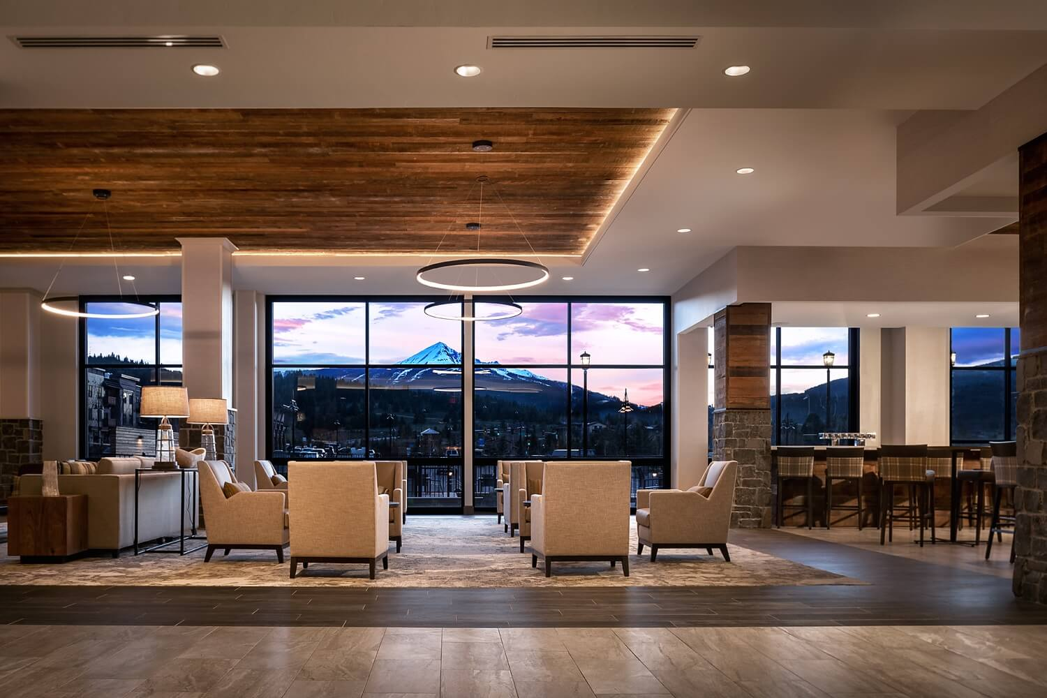 Wilson Hotel Lobby with mountain views.