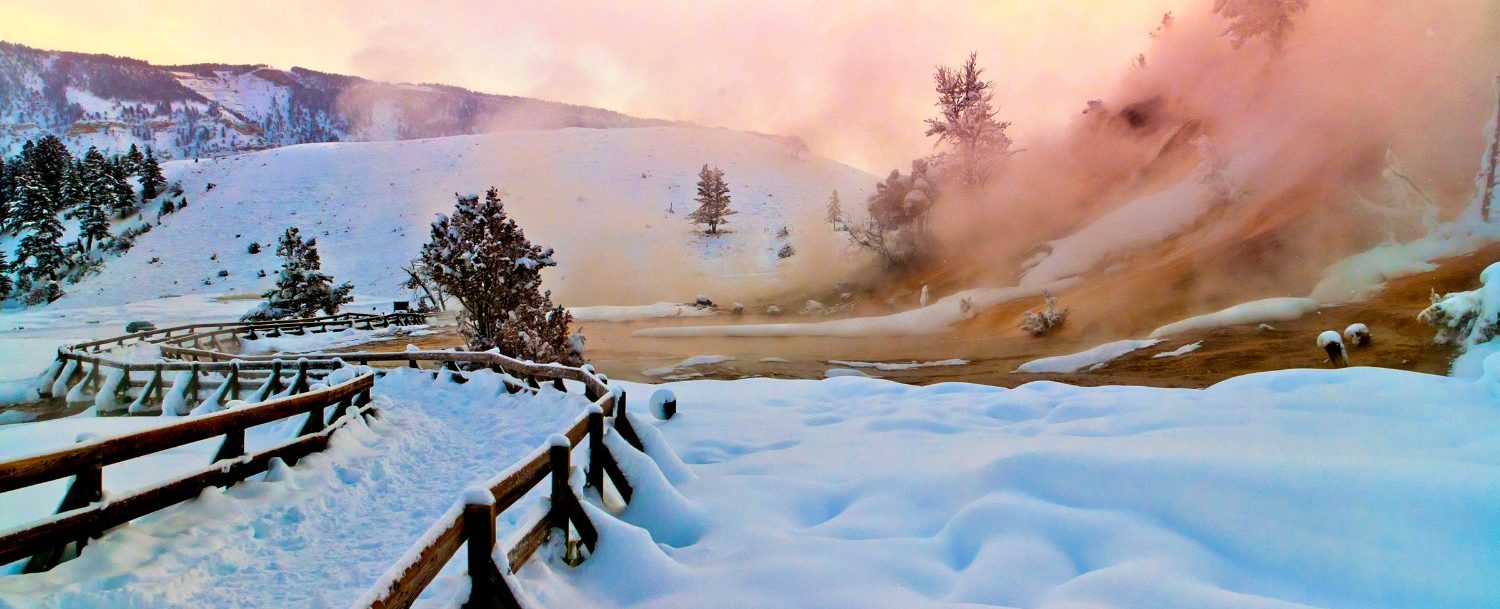 snow at yellowstone in the winter
