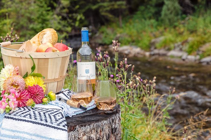 picnic basket by the river