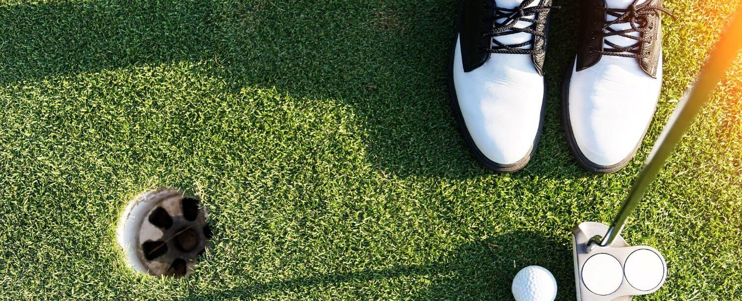golf ball club and shoes